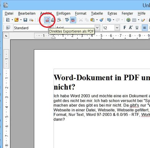 OpenOffice Writer, Word-Dokument in eine PDF-Datei umwandeln - (Computer, Word, PDF)