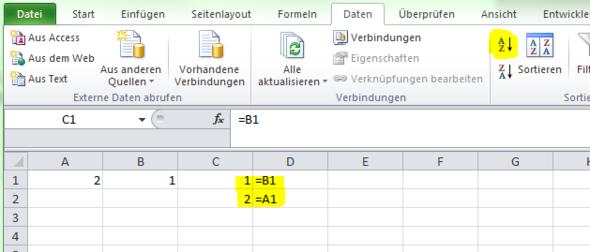 Direkte Sortierung über Schaltfläche - (Excel, Formel, Sortieren)