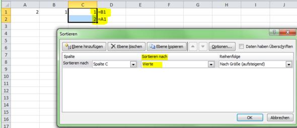 Sortierung über den Sortierdialog - (Excel, Formel, Sortieren)