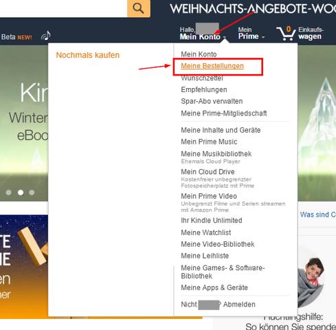 """Das Menü """"Mein Konto"""" aufsuchen und """"Meine Bestellungen"""" auswählen. - (Amazon, Konto)"""