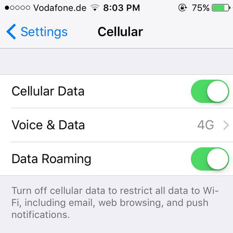 """Hier sollte der Schalter auf """"4G"""" stehen!  - (Vodafone, iPhone 5, 4G..LTE)"""