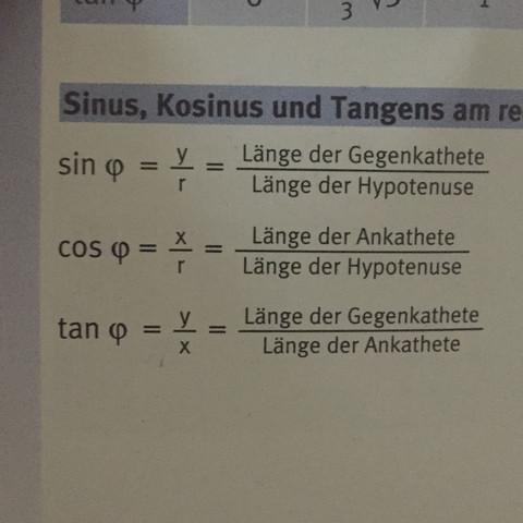 Bei Sinus muss die gegenkathete und die hypothenuse gegeben sein  - (Mathe, Sinus, Cosinus)