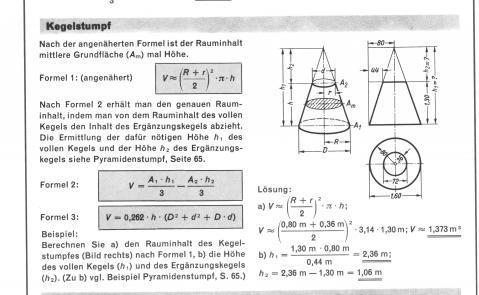 Grundfläche Kegel Volumen Eines Kegelstumpfs über Die Grundfläche  Herausfinden Mathematik Berechnen Kegel