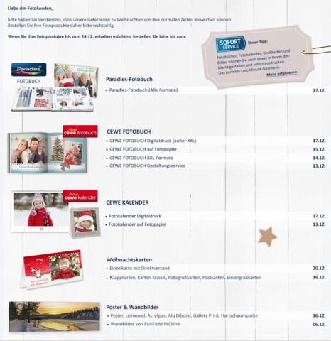 Bestellfristen vor Weihnachten beim DM - (Müller, Cewe)