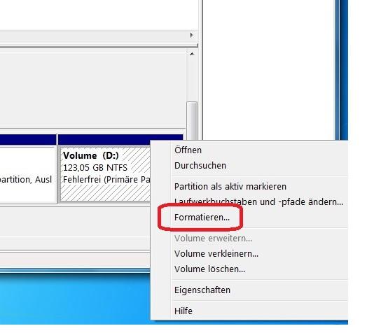 Datenträgerverwaltung, Partition formatieren - (Computer, Windows)