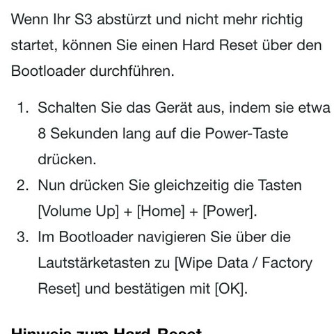 Hier die Anleitung zum Hard reset - (Handy, Samsung, galaxy)