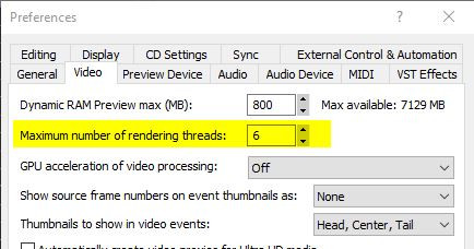 Anzahl Rendering-Threads - (Sony Vegas, rendern)