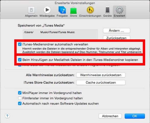 iTunes Erweiterte Einstellungen - (Programm, iTunes, mp3)