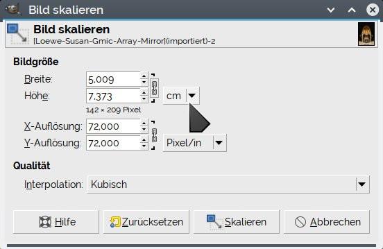 Gimp: Ausdruck-Größe einstellen - (Computer, PC, Programm)