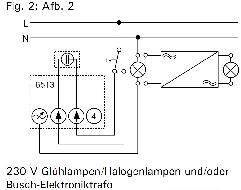 einbau dimmer busch j ger 6513 u 102 in bestehende wechselschaltung elektrik. Black Bedroom Furniture Sets. Home Design Ideas