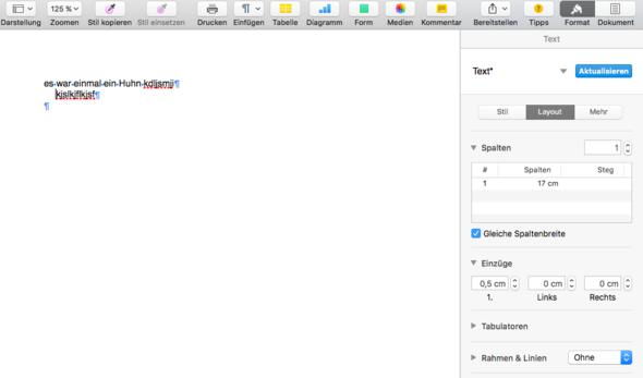 Einzug mit Pages (macbook)? (Essay)