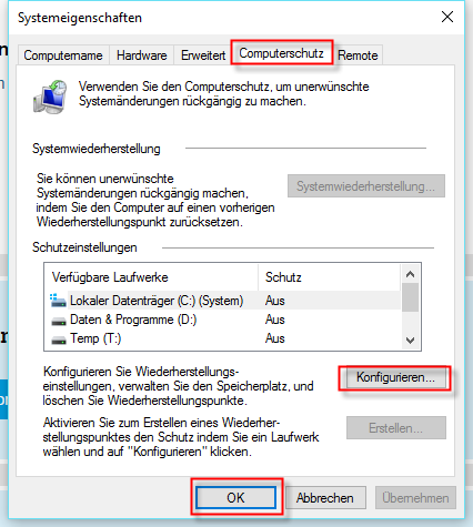 Wiederherstellungspunkte löschen - (Windows, Festplatte, Speicher)