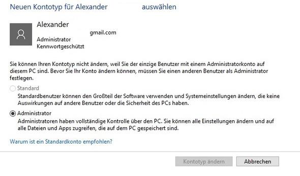 Bild 1 - (Rechte, Windows 10, Admin)
