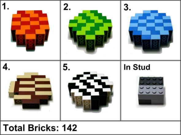 Bauanleitung für 2x4er Steine im PaB Becher - (Lego, bew)