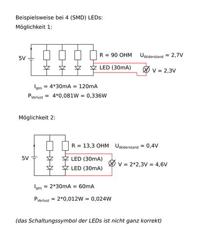 Beispiel 4 LEDs - (Technik, Elektronik, LED)