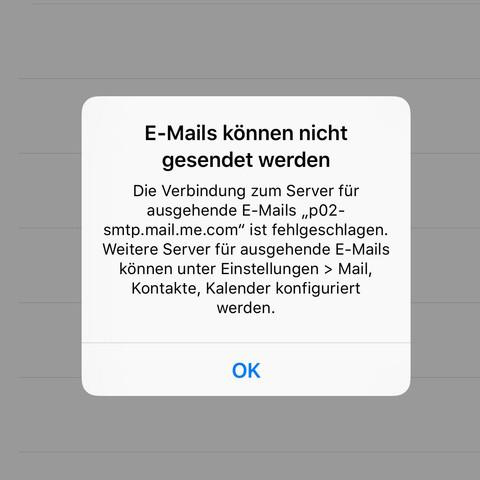 E mail versenden geht nicht iphone