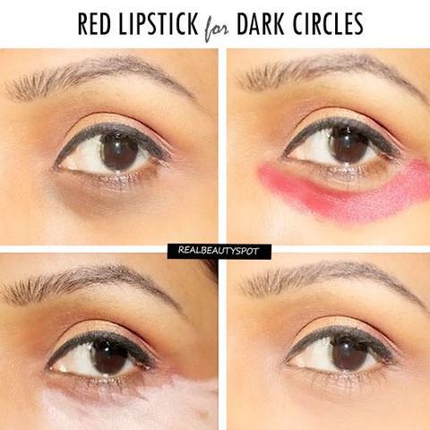 Das Rot neutralisiert die Verfärbung unter deinen Augen! - (Medizin, Beauty, Makeup)