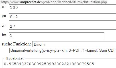 Binomialverteilung per Umkehrfunktionen Rechner - (Mathematik, Taschenrechner)