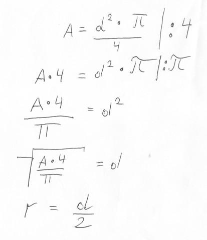 Formelumstellung - (Mathematik, Kreis)