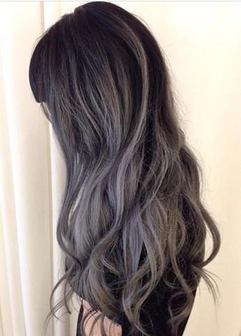 Dunkelbraun graue haare