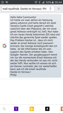 Hier ist die Kurzfassung - (Gmail Adresse vergessen, GooglePlus nur bekannt)