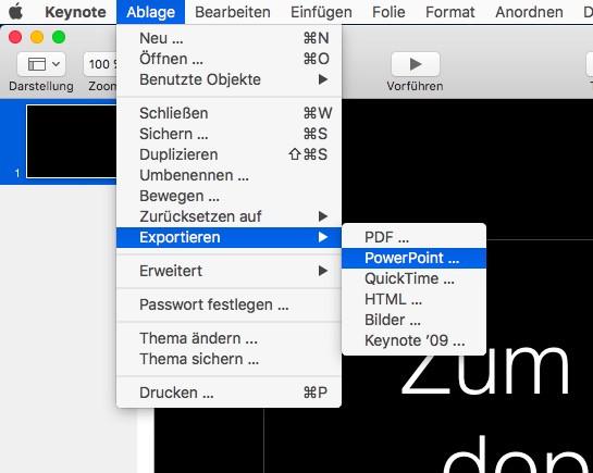 Keynote Datei exportieren - (Computer, Schule, Apple)