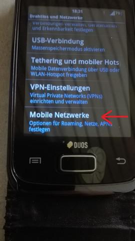 """Menü """"Mobile Netzwerke"""" - (iPhone, WLAN)"""