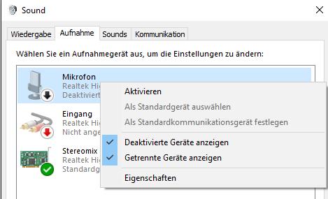 Das Mikrofon muss aktiviert werden - (Windows 7, Audiotreiber, headset mikro)