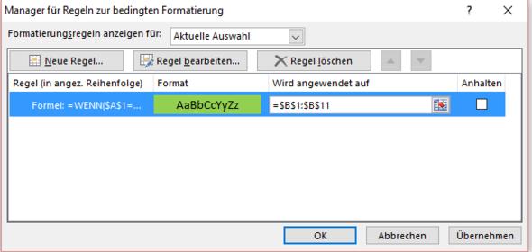 Bedingte Formatierung. Formel siehe im Text. - (Excel, Formel, VBA)