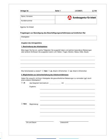 Formular Arbeitsamt Kündigung auf ärztlichen Rat - (Recht, Studium, Kündigung)