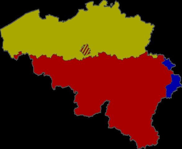 Grün: Niederländisch, Rot: Französisch (NICHT Wallonisch), Blau: Deutsch. - (deutsch, Sprache, franzoesisch)