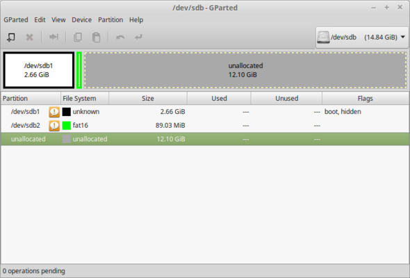 Screenshot GParted - (Windows, Linux, USB-Stick)