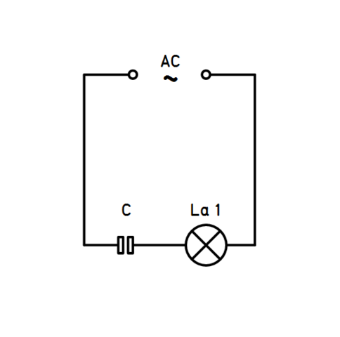 Wieso leuchtet die Lampe obwohl ein Kondensator in Reihe geschaltet ...