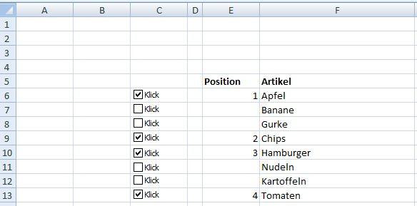 3. Bild - (Excel, Office, Kontrollkästchen)