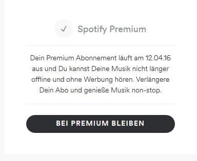 Die Abobox bei der Kontoübersicht - (Musik, Spotify)