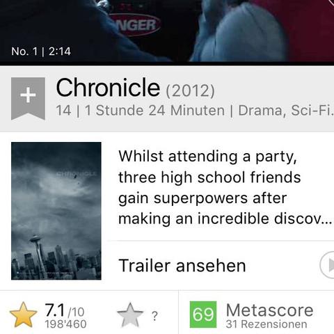 Chronicle - Quelle: IMdB - (Film, fliegen, Superkräfte)