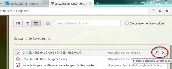 - (Opera, lesezeichen löschen)