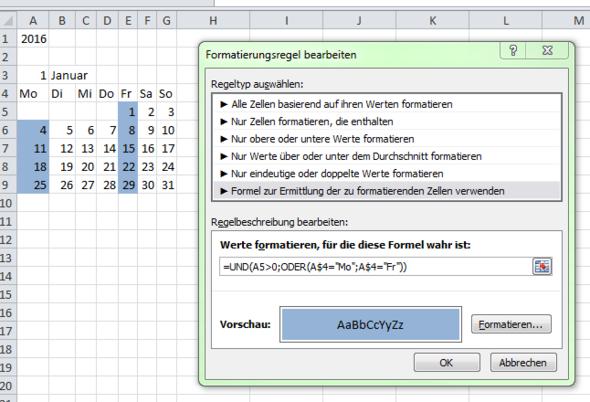 Mo und Fr Hintergrund blau - (Informatik, Excel)