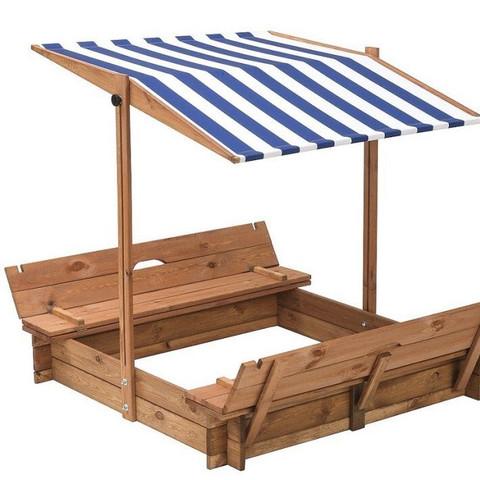Sandkasten mit Bänken und Dach zum kippen und rauf und runter drehen.  - (Kinder, Eltern, Garten)