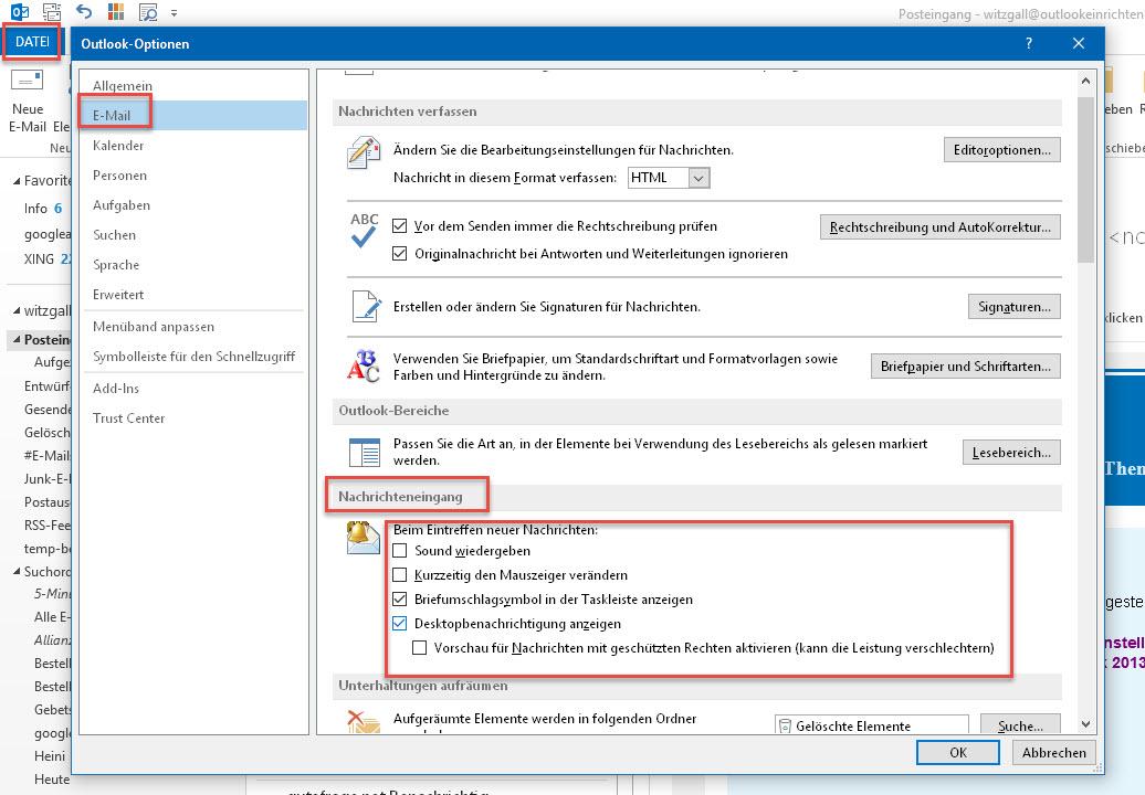 Wie kann ich eine Desktopbenachrichtigung einstellen, wenn