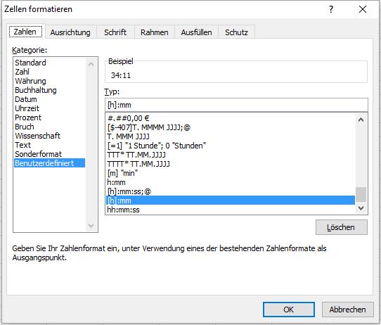 Zeiten in Excel formatieren, die über 24 Stunden gehen - (Excel, Formel)