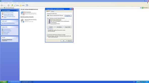 Screenshot der Netzwerkverbindungen der VM - (Windows, Windows 10, Windows XP)