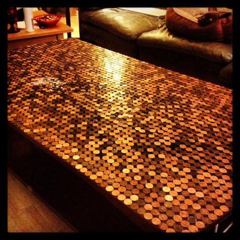Tischplatte aus Münzen - (kreativ, sammeln)