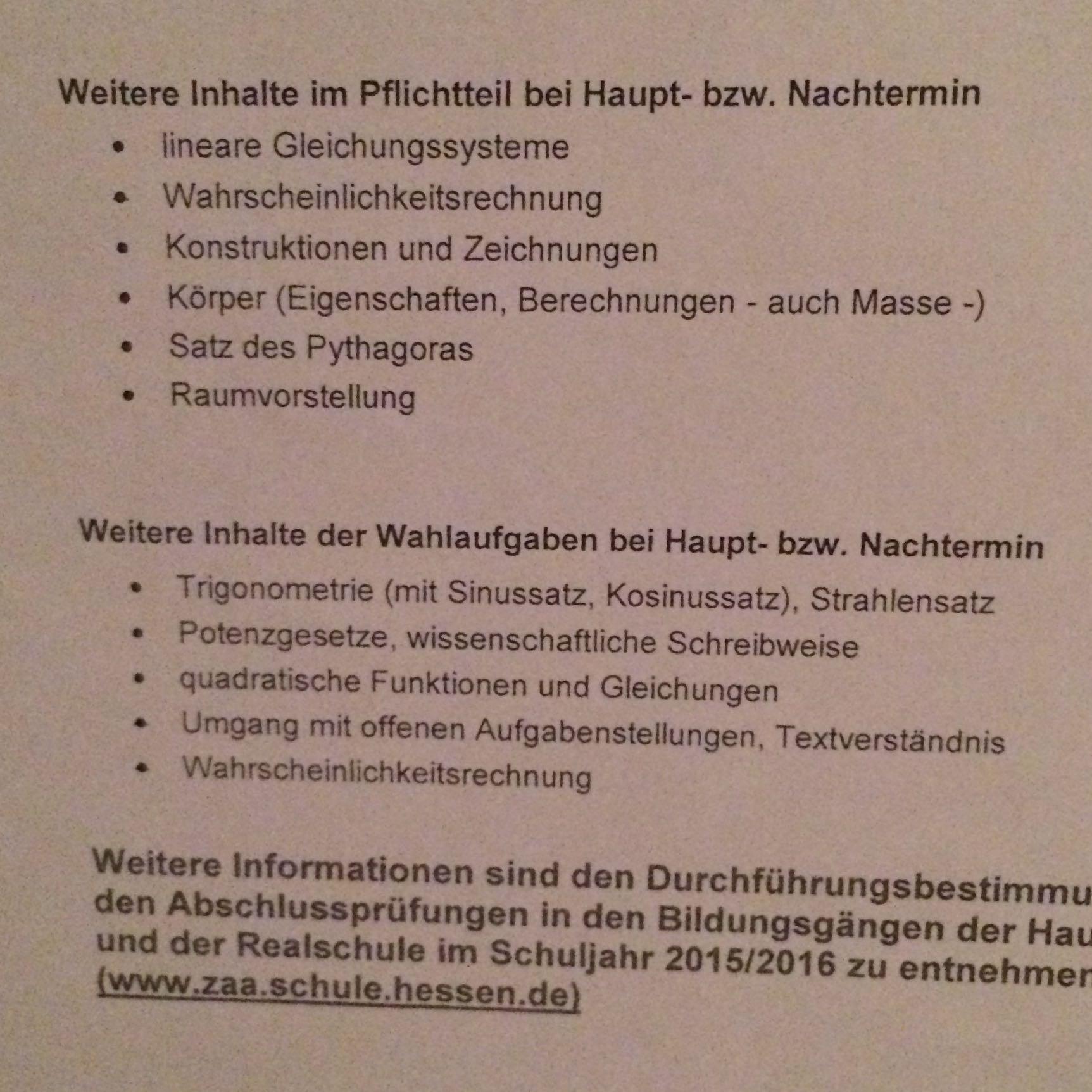 Zentrale Abschlussprüfungen Realschule Hessen 2016? (Schule)