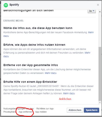 - (Facebook, Spotify, trennen)