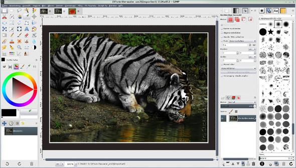 Gimp 2.8 Einfenstermodus mit individualisierten Docks und 3 geöffneten Bildern - (Internet, kostenlos, Fotografie)