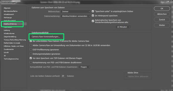 Voreinstellungen Dateihandhabung - (Mac, Fotografie, Einstellungen)