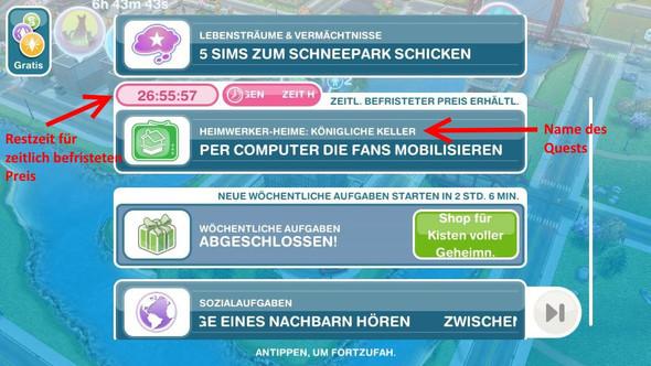 Quest Name und verbleibende Restzeit - (Spiele, iPad, Sims)