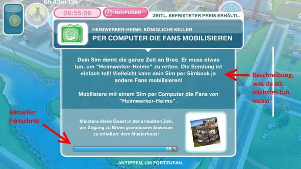 Quest Details und aktueller Fortschritt - (Spiele, iPad, Sims)