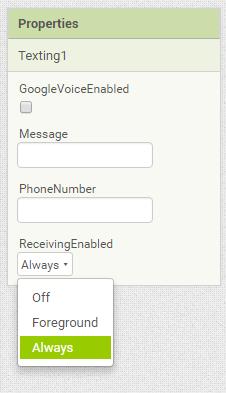 App Inventor 2 - Texting Einstellungen - (Handy, App, app inventor)